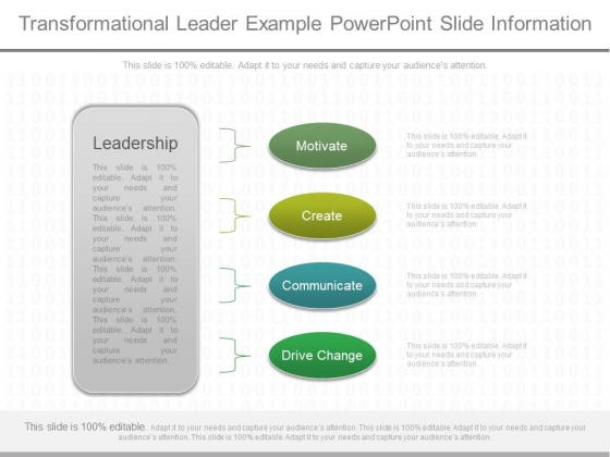 Transformational Leader Example Powerpoint Slide Information