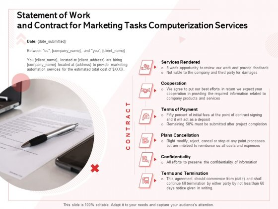 Transforming Marketing Services Through Automation Statement Of Work And Contract For Marketing Tasks Computerization Services Introduction PDF