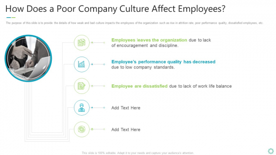 Transforming Organizational Processes And Outcomes How Does A Poor Company Culture Affect Employees Mockup PDF