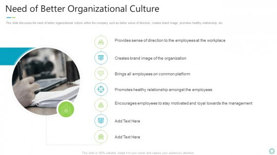 Transforming Organizational Processes And Outcomes Need Of Better Organizational Culture Graphics PDF