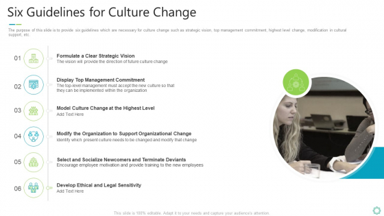 Transforming Organizational Processes And Outcomes Six Guidelines For Culture Change Mockup PDF