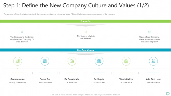 Transforming Organizational Processes And Outcomes Step 1 Define The New Company Culture And Values Communicate Template PDF