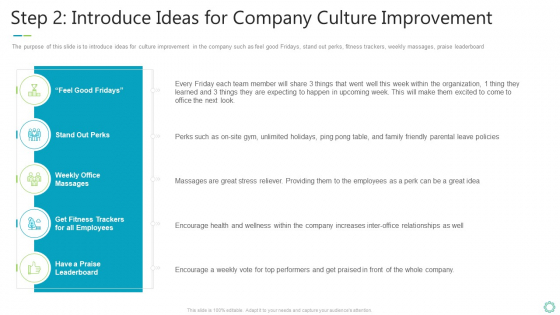 Transforming Organizational Processes And Outcomes Step 2 Introduce Ideas For Company Culture Improvement Themes PDF