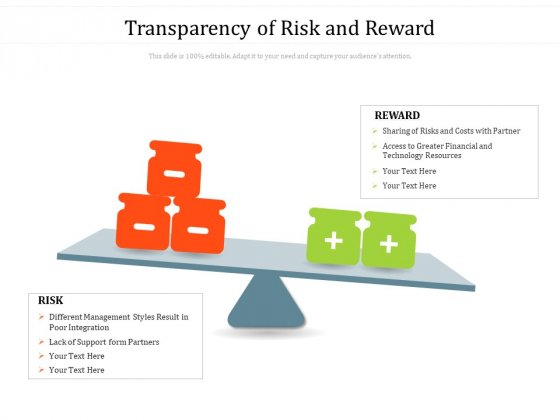 Transparency Of Risk And Reward Ppt PowerPoint Presentation Infographics Skills PDF