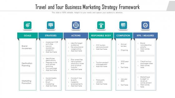 Travel And Tour Business Marketing Strategy Framework Microsoft PDF