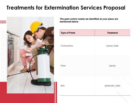 Treatments For Extermination Services Proposal Ppt PowerPoint Presentation Slides Graphics Download