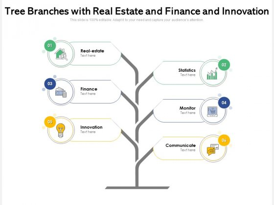 Tree Branches With Real Estate And Finance And Innovation Ppt PowerPoint Presentation File Formats PDF
