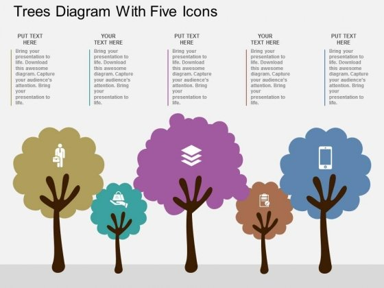 trees diagram with five icons powerpoint template powerpoint templates
