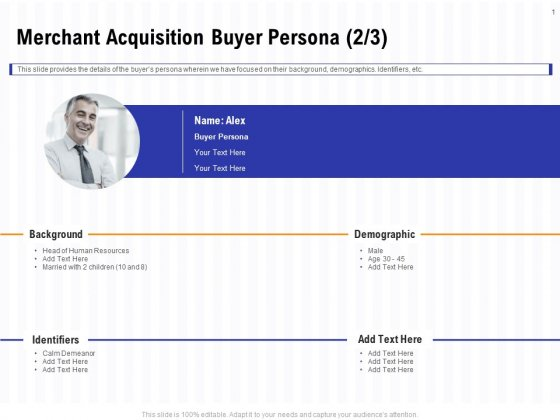 Trends And Emerging Areas In Merchant Acquiring Industry Merchant Acquisition Buyer Persona Background PDF