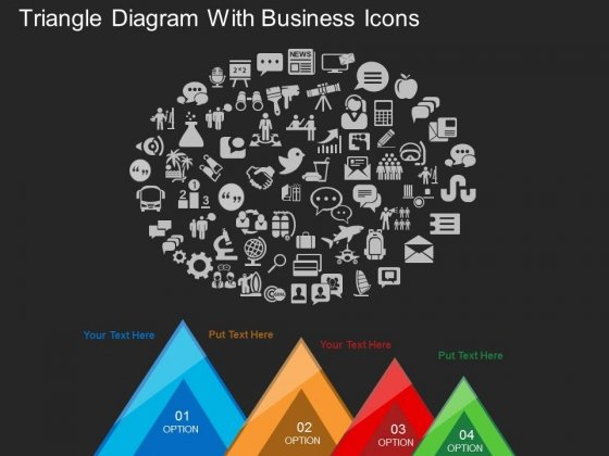 Triangle Diagram With Business Icons Powerpoint Template