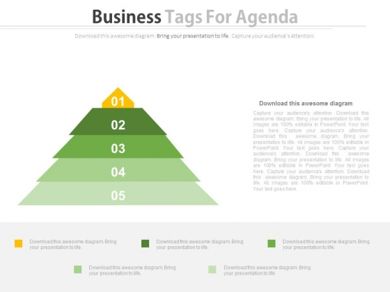 Triangle Of Five Business Steps Powerpoint Slides