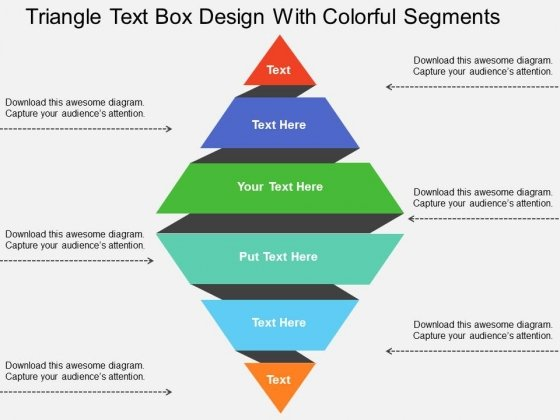 Triangle Text Box Design With Colorful Segments Powerpoint Templates