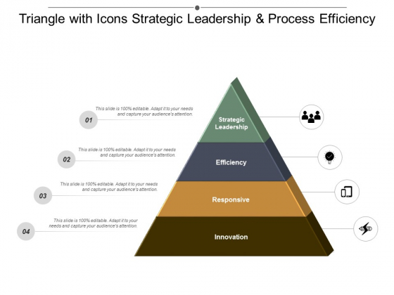 Triangle With Icons Strategic Leadership And Process Efficiency Ppt Powerpoint Presentation File Design Ideas
