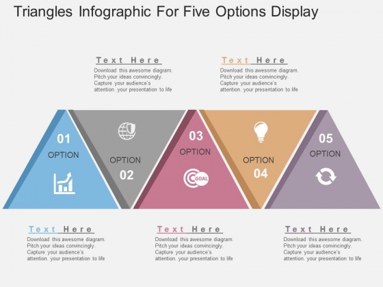 Triangles Infographic For Five Options Display Powerpoint Templates