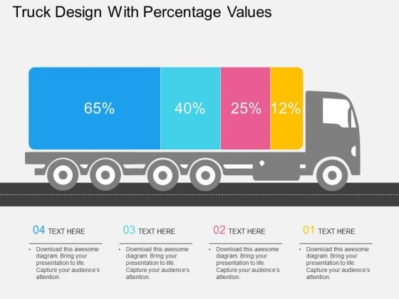 Truck Design With Percentage Values Powerpoint Template
