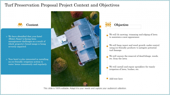 Turf Preservation Proposal Project Context And Objectives Ppt Infographics Visuals PDF