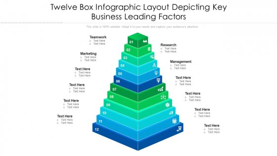 Twelve Box Infographic Layout Depicting Key Business Leading Factors Ppt PowerPoint Presentation File Vector PDF