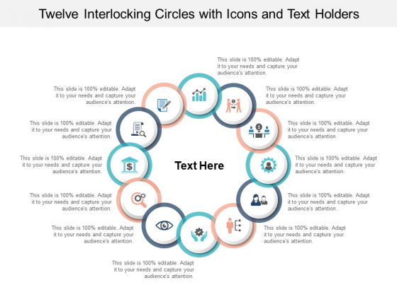 Twelve Interlocking Circles With Icons And Text Holders Ppt PowerPoint Presentation File Designs Download
