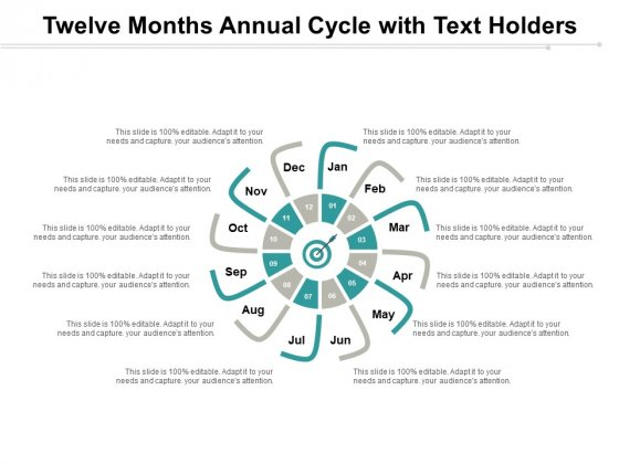 Twelve Months Annual Cycle With Text Holders Ppt PowerPoint Presentation Slides Themes