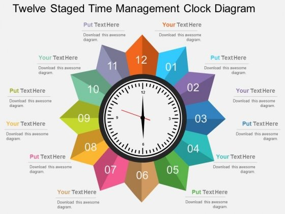 Twelve Staged Time Management Clock Diagram Powerpoint Template