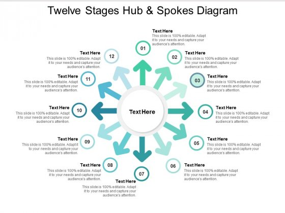Twelve Stages Hub And Spokes Diagram Ppt PowerPoint Presentation File Elements