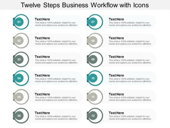 Twelve Steps Business Workflow With Icons Ppt PowerPoint Presentation Infographics Themes