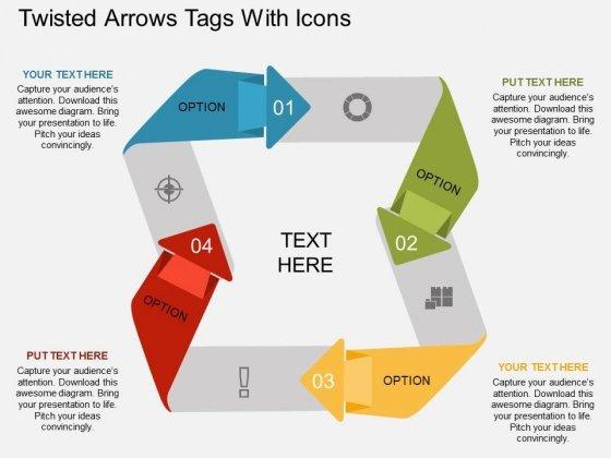 Twisted Arrows Tags With Icons Powerpoint Template
