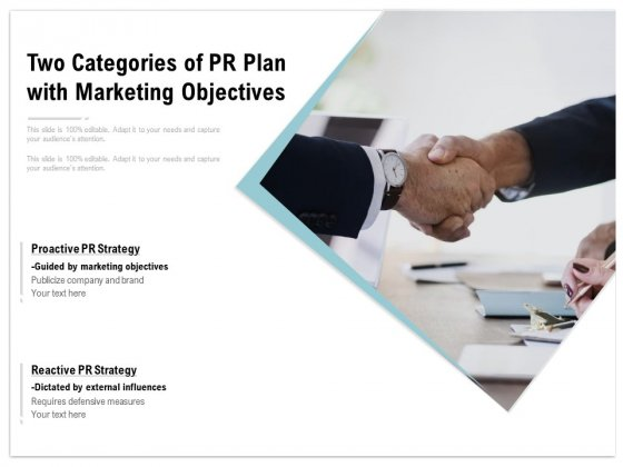Two Categories Of PR Plan With Marketing Objectives Ppt PowerPoint Presentation Show Brochure