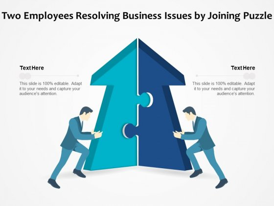 Two Employees Resolving Business Issues By Joining Puzzle Ppt PowerPoint Presentation File Graphics PDF