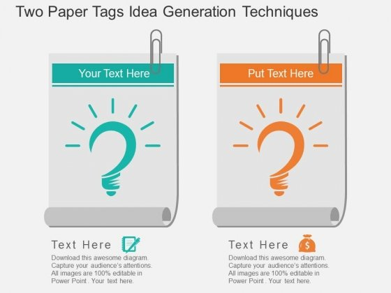 Two Paper Tags Idea Generation Techniques Powerpoint Template
