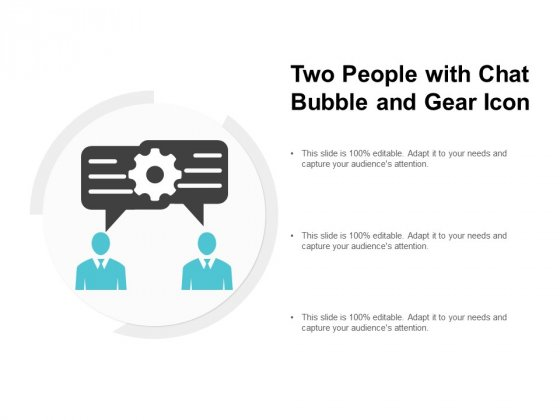 Two People With Chat Bubble And Gear Icon Ppt PowerPoint Presentation Pictures Example Introduction