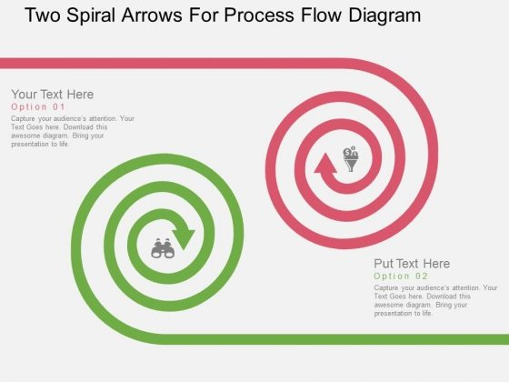 Two Spiral Arrows For Process Flow Diagram Powerpoint Template