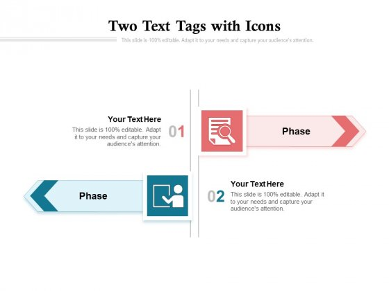 Two Text Tags With Icons Ppt PowerPoint Presentation Ideas Objects