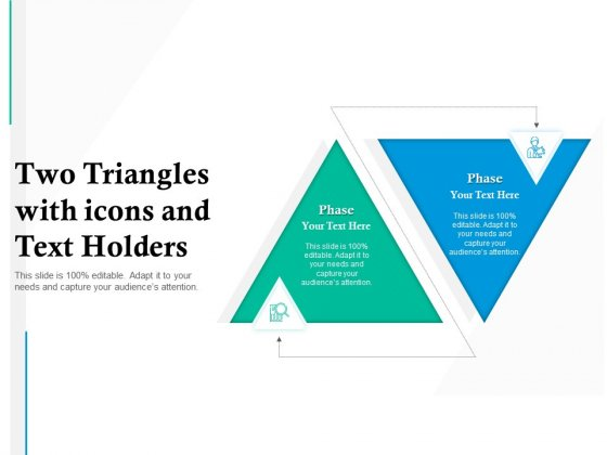 Two Triangles With Icons And Text Holders Ppt PowerPoint Presentation Diagram Lists