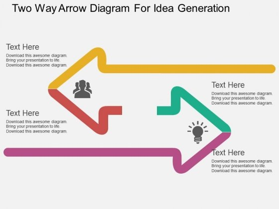 Two Way Arrow Diagram For Idea Generation Powerpoint Template