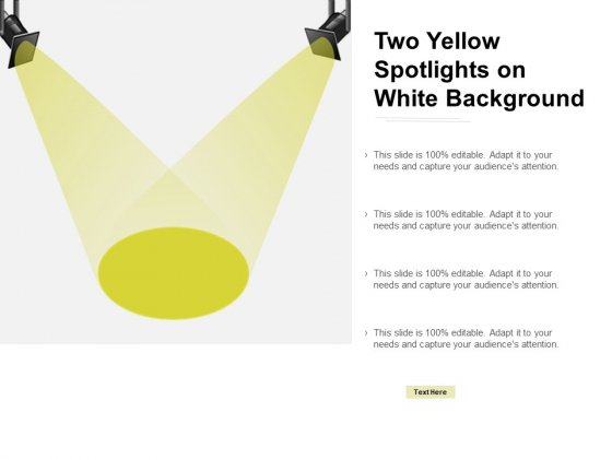 Two Yellow Spotlights On White Background Ppt Powerpoint Presentation Professional Inspiration