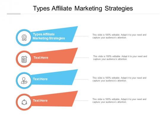 Types Affiliate Marketing Strategies Ppt PowerPoint Presentation Portfolio Background Designs Cpb