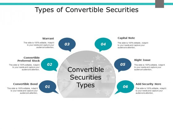 Types Of Convertible Securities Ppt PowerPoint Presentation Model Portrait