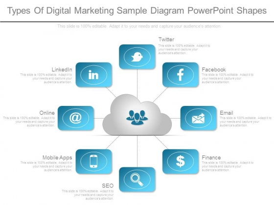 Types Of Digital Marketing Sample Diagram Powerpoint Shapes
