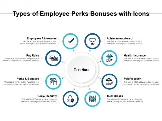 Types Of Employee Perks Bonuses With Icons Ppt PowerPoint Presentation Portfolio Graphics Pictures