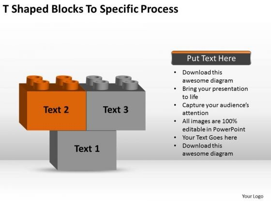 T-shaped Blocks To Specific Process Ppt Business Plan PowerPoint Templates