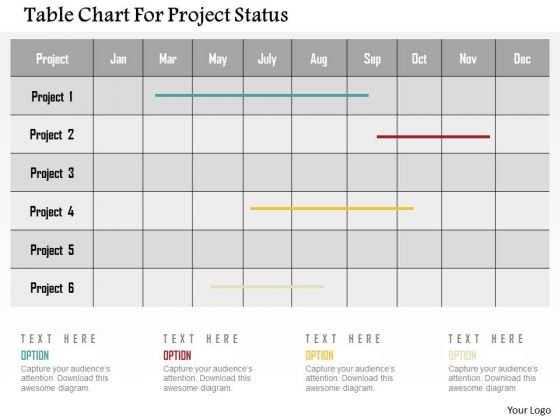 table chart for project status presentation template powerpoint