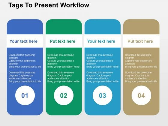 Tags To Present Workflow PowerPoint Template