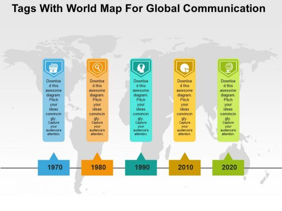 Tags With World Map For Global Communication PowerPoint Template