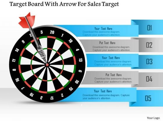 Target Board With Arrow For Sales Target Presentation Template