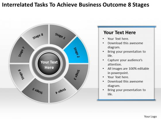 Tasks To Achieve Business Outcome 8 Stages Plan Outlines PowerPoint Templates