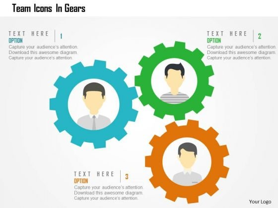 Team Icons In Gears Presentation Template