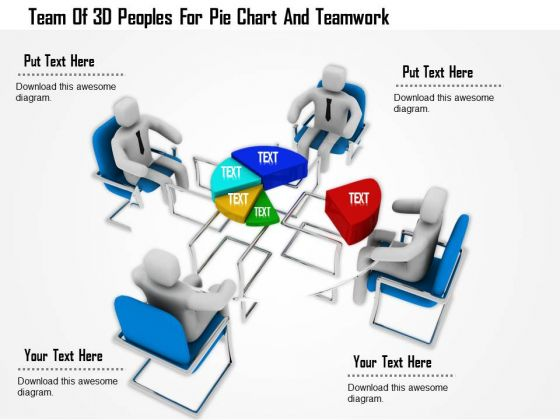 Team Of 3d Peoples For Pie Chart And Teamwork