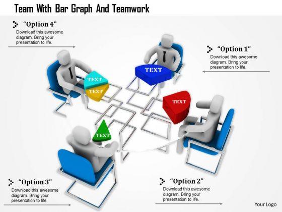 Team With Bar Graph And Teamwork