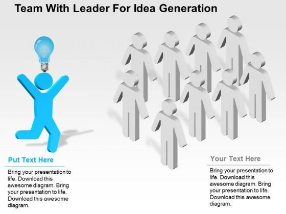 Team With Leader For Idea Generation PowerPoint Template
